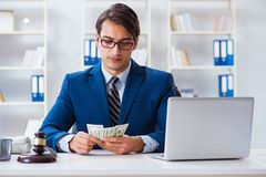 The lawyer receiving money as bribe. Lawyer receiving money as bribe stock photos