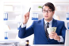 The lawyer receiving money as bribe. Lawyer receiving money as bribe Royalty Free Stock Photos