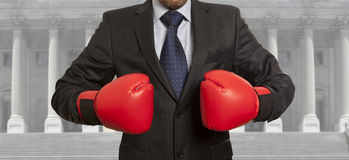 The lawyer in red boxing gloves. Legal concept. The lawyer in red boxing gloves royalty free stock photography