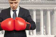 The lawyer in red boxing gloves Stock Photo