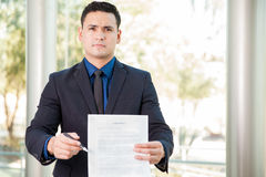Lawyer requesting a signature Stock Photos