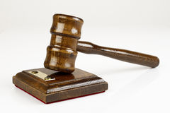 Lawyer's hammer. A lawyer's hammer on white background royalty free stock photos