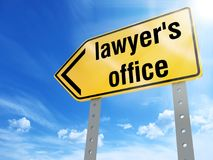 Lawyer`s office sign. On blue sky background,3d rendered Stock Photos