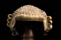 Lawyer's wig front. Front view of an antique horsehair lawyer's wig Royalty Free Stock Image