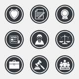 Lawyer, scales of justice icons. Auction hammer. Royalty Free Stock Image