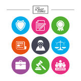Lawyer, scales of justice icons. Auction hammer. Royalty Free Stock Photo