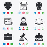 Lawyer, scales of justice icons. Auction hammer Royalty Free Stock Photo