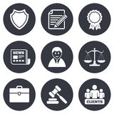 Lawyer, scales of justice icons. Auction hammer Royalty Free Stock Photography