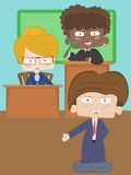 A lawyer,a secretary and a judge. Playing kids Royalty Free Stock Images