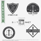 Lawyer services. Law office. The judge, the district attorney, the lawyer set of vintage labels. Scales of Justice. Court of law s Royalty Free Stock Photo