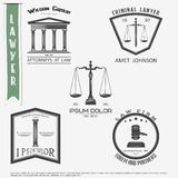 Lawyer services. Law office. The judge, the district attorney, the lawyer set of vintage labels. Scales of Justice. Court of law s Royalty Free Stock Image