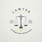 Lawyer services. Law office. The judge, the district attorney, the lawyer of vintage labels. Old retro vintage grunge. Typographic Royalty Free Stock Photo