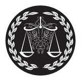 Lawyer sign of scale in laurel wreath on black background. Weigther for justice and arbitrate stock photo