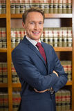 Lawyer smiling in the law library Royalty Free Stock Photography