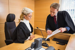Lawyer speaking with the judge Royalty Free Stock Photo
