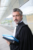 Lawyer standing on front of courthouse Royalty Free Stock Images