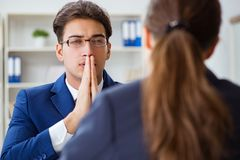 The lawyer talking to his client in office. Lawyer talking to his client in office Royalty Free Stock Image