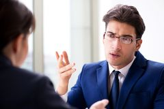 The lawyer talking to his client in office. Lawyer talking to his client in office Royalty Free Stock Photos
