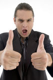 Lawyer with thumbs up hand gesture Stock Photography