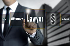 Lawyer touchscreen is operated by businessman Stock Photography