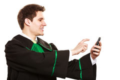 Lawyer use smartphone touch screen. Stock Photo