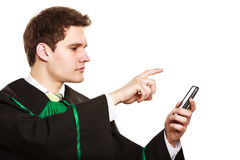 Lawyer use smartphone touch screen. Royalty Free Stock Photography