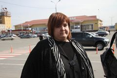 Lawyer Violetta Volkova at the airport of Krasnodar Stock Photo
