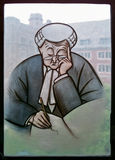 Lawyer In The Window. In the Yale Law School Library, many windows contain images. This stained glass windows shows a lawyer, or perhaps an English barrister Stock Photography