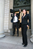 Lawyers at Court. Two lawyers celebrating a success outside of court Stock Images