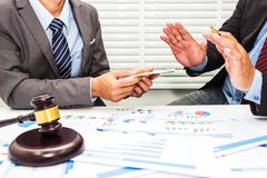 Lawyers are denying bribes to employees stock photo