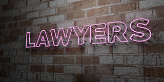 LAWYERS - Glowing Neon Sign on stonework wall - 3D rendered royalty free stock illustration Royalty Free Stock Photo