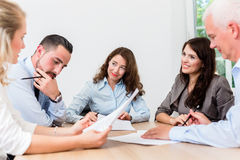 Lawyers having team meeting in law firm royalty free stock photo