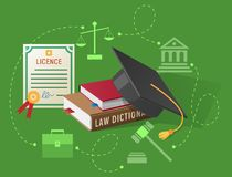 Lawyers Licence, Books on Law and Academic Hat Royalty Free Stock Photo