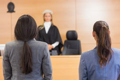 Lawyers listening to the judge Stock Photography