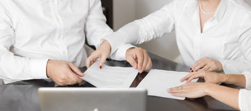 Lawyers preparing a case. Couple of lawyers preparing a case Royalty Free Stock Photo