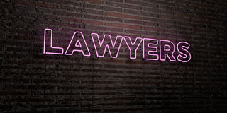 LAWYERS -Realistic Neon Sign on Brick Wall background - 3D rendered royalty free stock image Stock Photos