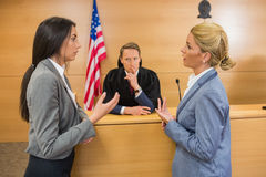 Lawyers speaking with the judge Royalty Free Stock Photo