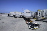 LAX Airbus A380. An Airbus A380 parked at LAX airport Royalty Free Stock Images