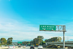LAX exits sign in Los Angeles Royalty Free Stock Images