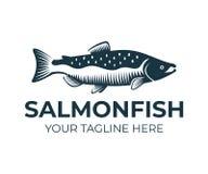Lax, fisk och fiske, logomall Undervattens- värld, flod och marin- liv, natur, vektordesign royaltyfri illustrationer