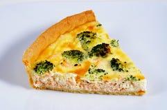 Lax och broccolipaj Arkivbild