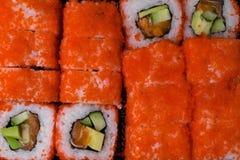 lax- och kaviarsushibakgrund material rått hav för läcker ny japan för fiskmat japansk citron Sushimeny Royaltyfria Foton