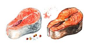 Laxfisken filea, rått och grillat Dragen illustration för vattenfärg som hand isoleras på vit bakgrund royaltyfri illustrationer