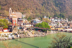 Laxman Jhula bridge at the Ganga in India Stock Image