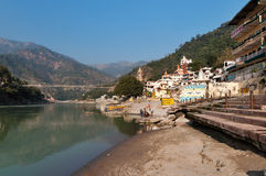 Laxman Jhula bridge over Ganges river Royalty Free Stock Images