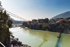 Laxman Jhula bridge over Ganges river Stock Photography
