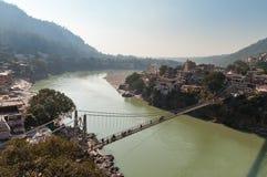 Laxman Jhula bridge over Ganges river Stock Photo