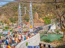 Laxman Jhula footbridge in Rishikech Royalty Free Stock Photo