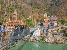 Laxman Jhula footbridge in Rishikech Stock Photos