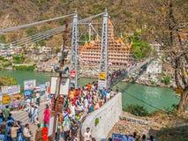 Laxman Jhula footbridge in Rishikesh Royalty Free Stock Images